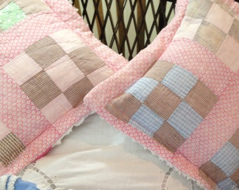 Pillow covers square Vintage Chenille quilted Pillow covers repurposed vintage pink white satin vintage quilt repurposed pink blue white