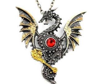 Steampunk Dragon Pendant Necklace