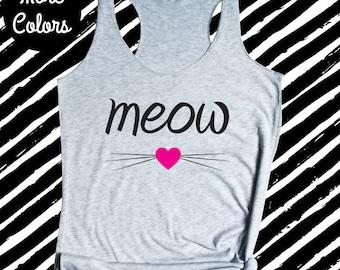 Cat Shirt, Cat Tank Top, Kitty Shirt, Meow Tank Top, Cute Cat Tank Top, Womens Tank Top, Funny Workout Tank Top, Cat Lady, Gift for Her