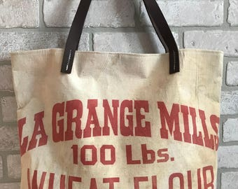 Flower Wheat Feed Sack Purse Tote Handbag