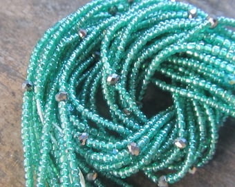 Green colors waist beads with crystals, stranded on cotton thread, 42/44 inches, Fair Trade