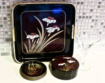 TOYO Japanese Black Tray with Matching Coasters in Box Lacquer ware Japan