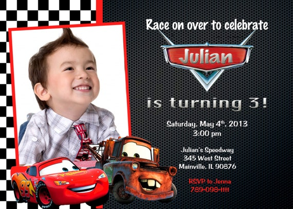 Disney cars lightning mcqueen mater birthday party invitation solutioingenieria Image collections