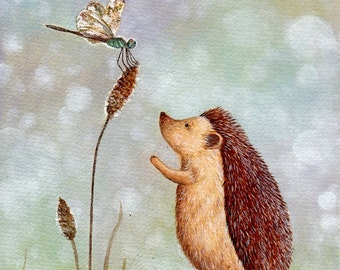 Hedgehog and Dragonfly, print from an original watercolor illustration by Irene Owens