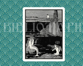 Mermaid Art - Antique Mermaids - Fairy Tale Art - Fantasy Art - Digital Art - Antique Art  Book Plate - Book Illustration Book Art