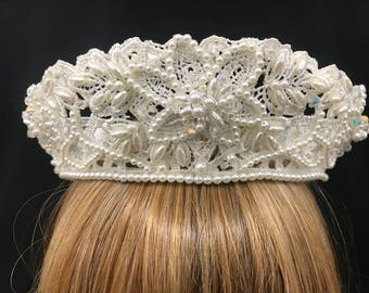 Royal White Lace Embroidered Crown W/ Three Dimensional Cluster of Flowers Made Of Pearls & Sparkling Beads
