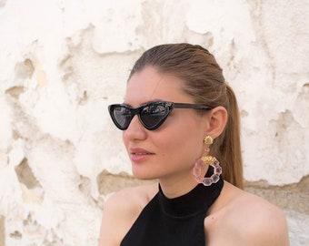 Vintage Lucite Hoop Earrings / 80s Hoop Earrings / Avant-Garde Earrings / Dead-Stock Earrings / Transparent Earrings / Clear Earrings