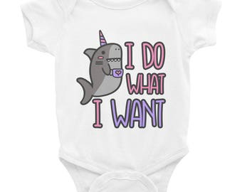 I do what i want narwhal nautical unicorn Infant Bodysuit