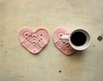 little pink hearts crocheted coasters  set of 2 -