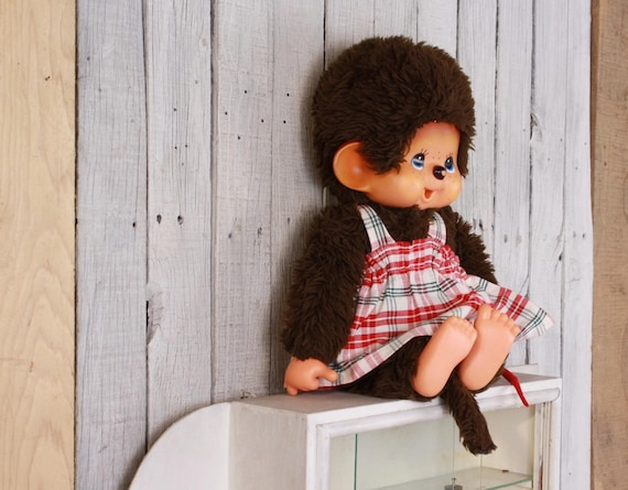 Vintage Monchichi, Futago no monchhichi made in Japan, 1970s toy monkey