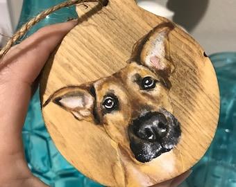 "Pet dog cat handpainted custom artwork portrait on 3"" wood ornament keychain holiday gift"
