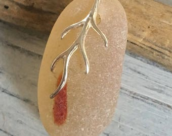 One of a Kind Golden Sea Glass Necklace with Sterling Bail by Seyshelles