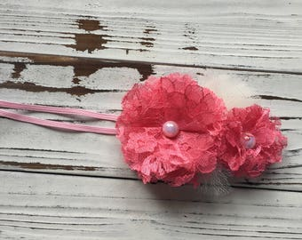 Pink Lace and Tulle Baby Headband