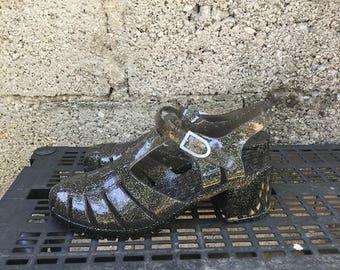 Vintage Shoes/ 90s/ Rubber/ Jelly/  number IT 40/ UK 6.5/ US 9/ heel h 6/ Nos