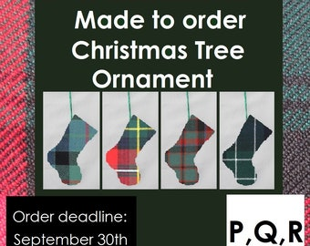 Tartan Christmas Tree decoration in tartans starting with P, Q, & R like Paisley, Ramsay, Rattray, Robertson, Rose, Ross, Roxburgh, Russell