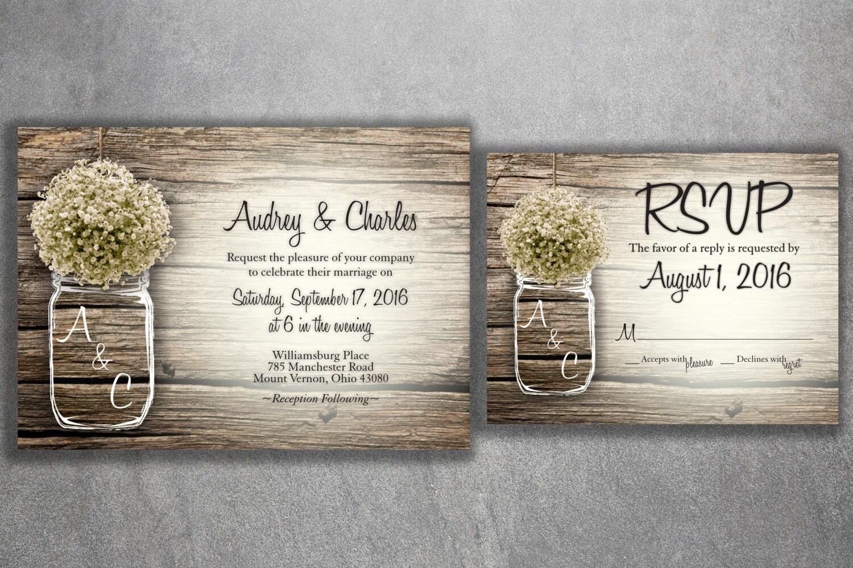 MASON JAR Babyu0027s Breath Flowers Rustic Wedding Invitation Set Printed, Cheap  Wedding Invitations, Unique, Custom Invitations, Affordable