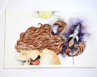 "Night Dreams 11"" x 17""  Watercolor Illustration"