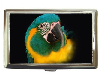 Blue Throat Macaw Parrot Bird Money Cigarette Case Chrome Holder Wallet