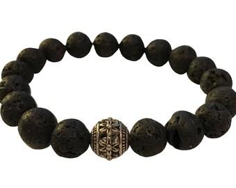 Lava Rock with accent bead bracelet