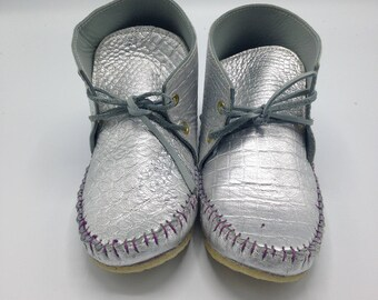Women's Silver Leather Moccasins