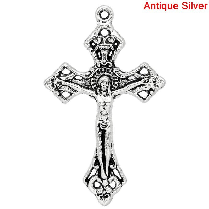 Silver cross pendant large cross charms christian cross zoom aloadofball Images