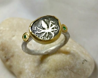 Ancient Greek Coin Statement Ring,  22 kt yellow gold, silver and tsavorite ring, Octopus coin ring, ancient coin jewelry