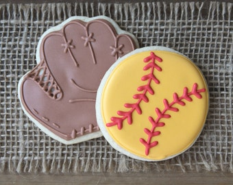 Softball Favors / Softball Party Favors / Softball Party Decorations / Gifts for Coaches / Softball and Glove Sugar Cookies - 12 cookies