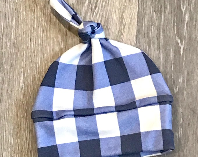 baby hat blue white buffalo check plaid Organic knot modern newborn shower gift photography prop hospital outfit accessory neutral girl boy