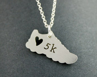 5k I love running necklace