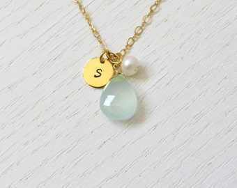 Small gold initial necklace, Aqua chalcedony necklace