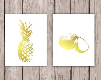 Home Decor - Pineapple, Coconut Print, Gold Foil Kitchen Decor, Beach House Art, Tropical Paradise, Housewarming Gift for Wife Food