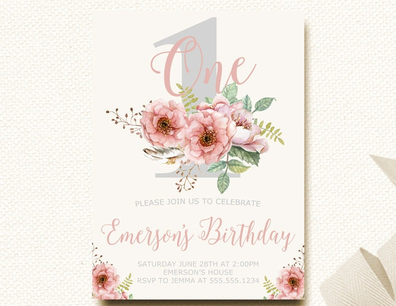 Woodland Invitation Floral Birthday Invitation Pink 1st