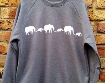 Elephants Sweatshirt - printed sweatshirt, hand stenciled, elephant print, organic cotton