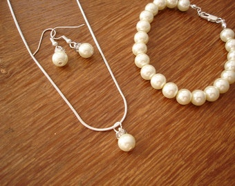 Popular Pearl Necklace, Earrings and Bracelet Set - Bridal, Bridesmaids Jewelry