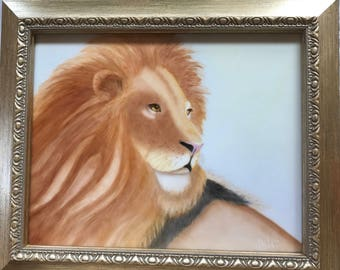 Magestic lion hand painted on a porcelain tile