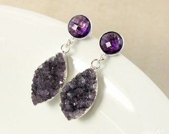 50% OFF SALE - Silver Purple Amethyst Posts & Druzy Leaf Earrings - Violet Purple Druzy Leaf Earrings - Post Setting
