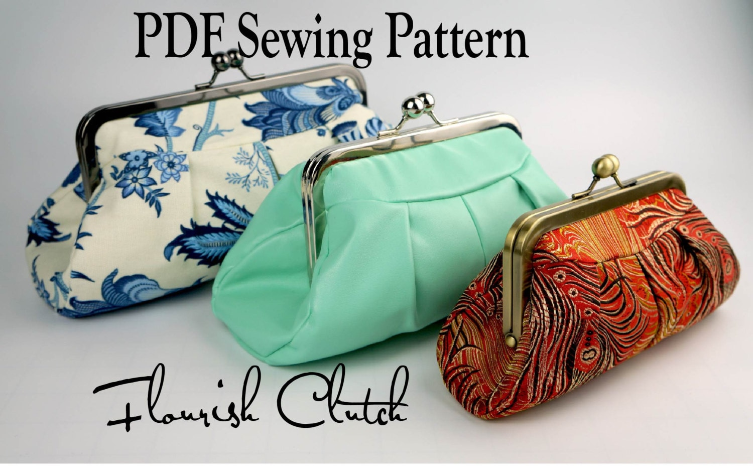 Flourish clutch by toriska pdf sewing pattern rectangle zoom jeuxipadfo Choice Image