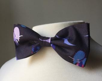 Navy Blue Prehistoric Dinosaurs Bowtie, Bow tie, pre-tied, adjustable bowtie, Mens bowtie