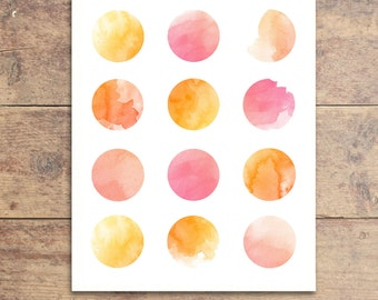 Polka Dot Nursery Print - Modern Nursery Art - Watercolor Dot Art Print - Nursery Decor
