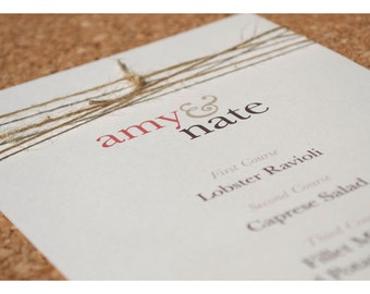 Wedding Menus Coordinate with Simple Knot - Twine Tie the Knot Wedding Invite - Simple Elegant Rustic Invitations