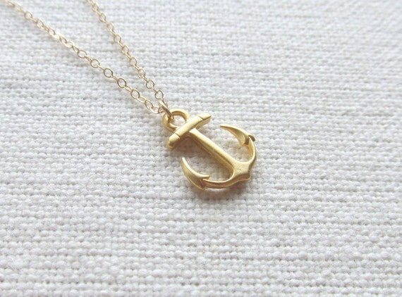14k Gold Fill Chain Anchor Necklace Gold Nautical Jewelry
