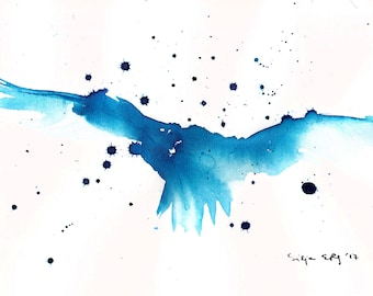 Abstract flying bird painting -  8x12in canvas sheet, A4, 21x30cm original watercolor art