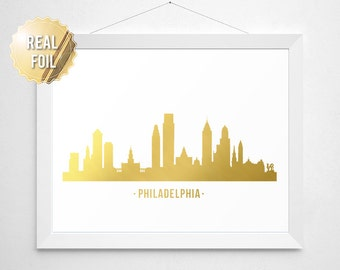 Philadelphia Skyline Real Gold Foil Print - Gold Philadelphia Skyline Pennsylvania Gold Foil Home Decor - Gold Philly Love Philly Art Gift