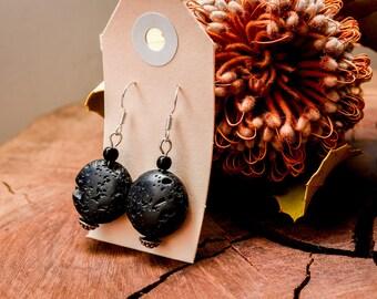 Black Polished Lava Stone, Lava Stone, Sterling Silver Earrings, Nature, Rustic, Bohemian Jewellery, Boho, Crystal, Volcanic Stone, Stone