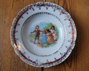 Antique Childrens Play Blindman's Buff Plate Germany 1900