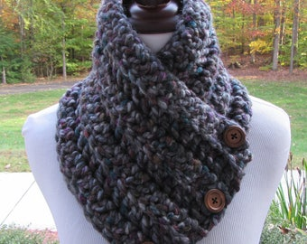 Chunky Scarf, Crochet Scarf, Chunky Cowl, Boston Harbor Scarf, Gray Scarf, Gift for Her, Christmas Gift, Button Cowl, Handmade Scarf