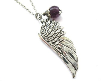 Antiqued silver angel wing pendant necklace purple amethyst stone bead jewelry vintage victorian style angel wing necklace angel wing charm