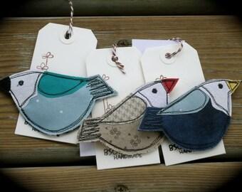 Spring Bird Brooch, fiber art brooch