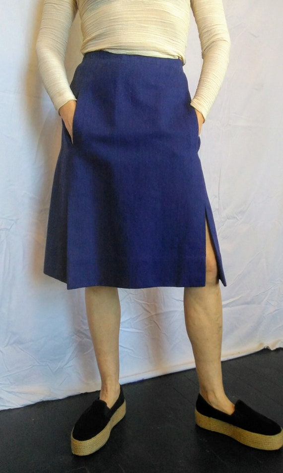 Superb vintage Givenchy blue cotton denim twill skirt Made in France 1970s