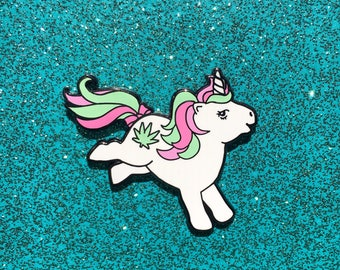 My Little Stoney Enamel Pin, My Little Pony G1, Unicorn Lapel Pin, 420 Hat Pin, My Little Pony Pin, Weed Hard Enamel Pin, MLP 80s 90s Toy